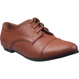 Refresh by Beston Women's 'Sosa-03' Brown Lace-up Oxfords