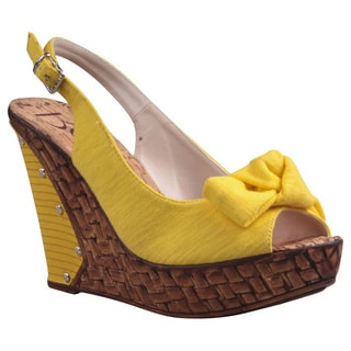 Refresh by Beston Women's 'Unica' Yellow Peep-Toe Slingback Wedge Sandals