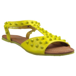 Refresh by Beston Women's 'Yotis' Flat T-Strap Sandals in Mustard