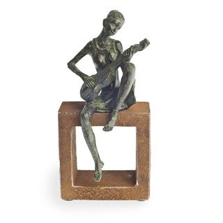 Polyresin Guitar Player Figurine on Rustic Stand
