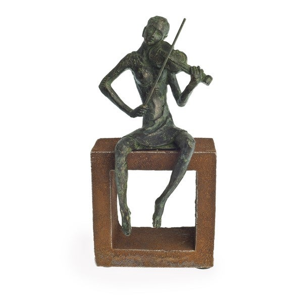 Danya B 'Violin Player' Polyresin Figurine on Rustic Stand