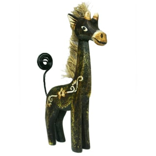 Hand-painted Brown Giraffe Photo Holder (Indonesia)