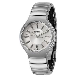 Rado Men's 'Rado True' Silvertone Ceramic Swiss Quartz Watch