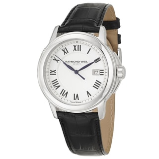 Raymond Weil Men's 'Tradition' Black Leather Swiss Quartz Watch