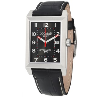 Locman Men's 'Sport' Black Leather Stainless Steel/ Titanium Quartz Watch