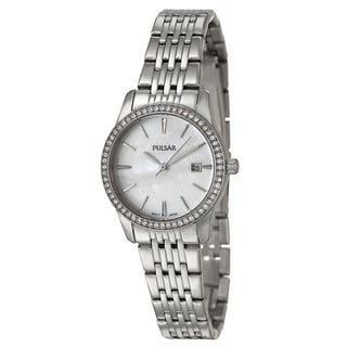 Pulsar Women's 'Crystal' Stainless Steel White Dial Quartz Watch