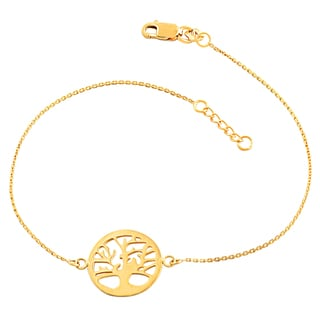 Fremada 14k Yellow Gold Sideways Tree Of Life Adjustable Bracelet (7.5-inch)