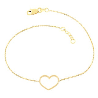 Fremada 14k Yellow Gold Sideways Open Heart Adjustable Bracelet (7.5-inch)