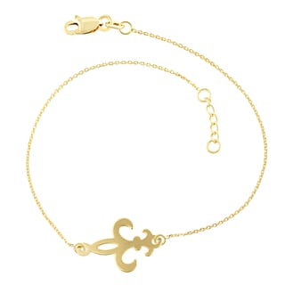 Fremada 14k Yellow Gold Sideways Fleur de Lis Adjustable Bracelet