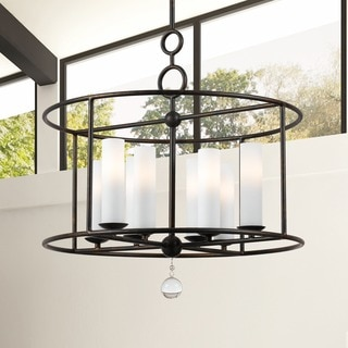 Cameron 24-inch Round English Bronze 8-light Chandelier