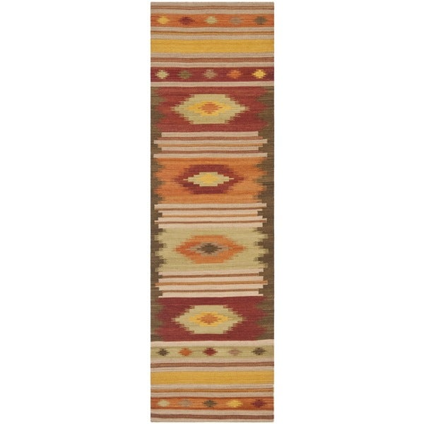 Safavieh Hand-woven Navajo Kilim Brown/ Multi Wool Rug (2'3 x 8')