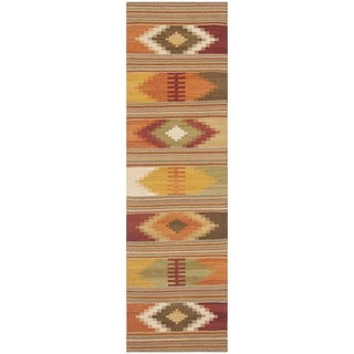 Safavieh Hand-woven Navajo Kilim Red/ Multi Wool Rug (2'3 x 8')