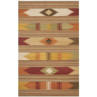 Safavieh Hand-woven Navajo Kilim Red/ Multi Wool Rug (8' x 10')
