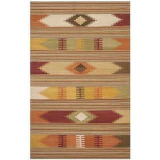 Safavieh Hand-woven Navajo Kilim Red/ Multi Wool Rug (8' x 10')