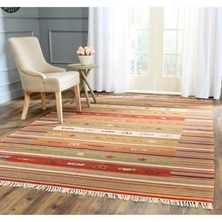Safavieh Hand-woven Navajo Kilim Burgundy/ Multi Wool Rug (8' x 10')