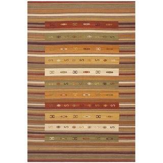 Safavieh Hand-woven Navajo Kilim Burgundy/ Multi Wool Rug (9' x 12')
