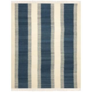 Safavieh Hand-woven Navajo Kilim Blue/ Ivory Wool Rug (9' x 12')