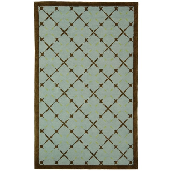 Safavieh Hand-hooked Newport Blue/ Brown Cotton Rug (5' x 8')
