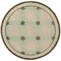 Safavieh Hand-hooked Newport Teal/ Ivory Cotton Rug (4' x 4' Round)