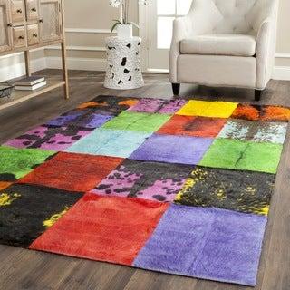 Safavieh Hand-woven Studio Leather Black/ Multi Leather Rug (8' x 10')