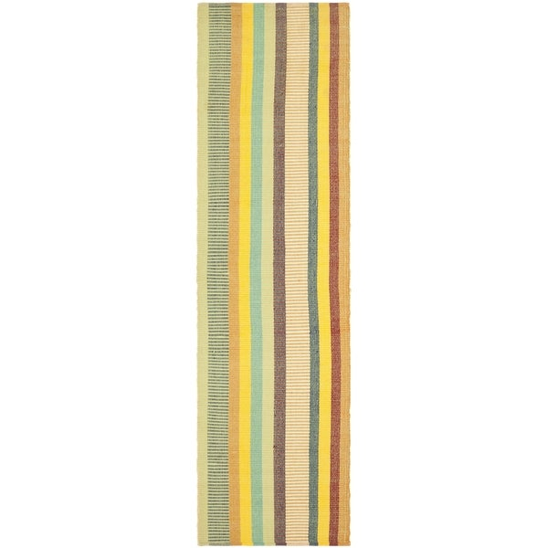 Safavieh Hand-woven Penfield Yellow/ Multi Cotton Rug (2'6 x 8')