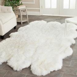Safavieh Hand-woven Sheepskin White Rug (4' x 6')