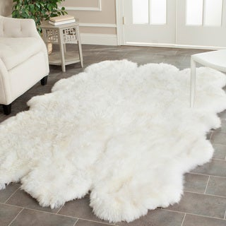 Safavieh Hand-woven Sheepskin White Rug (5' x 8')