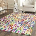 Safavieh Hand-woven Studio Leather Ivory/ Multi Leather Rug (4' x 6')