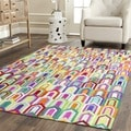 Safavieh Hand-woven Studio Leather Ivory/ Multi Leather Rug (5' x 8')