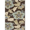 Safavieh Veranda Piled Indoor/ Outdoor Chocolate/ Aqua Rug (4' x 5'7)