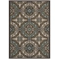 Safavieh Veranda Piled Indoor/ Outdoor Chocolate/ Cream Rug (5'3 x 7'7)