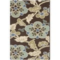 Safavieh Veranda Piled Indoor/ Outdoor Chocolate/ Aqua Rug (6'7 x 9'6)