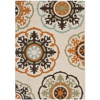 "Safavieh Veranda Piled Indoor/Outdoor Cream/Terracotta Polypropylene Rug (6'7"" x 9'6"")"