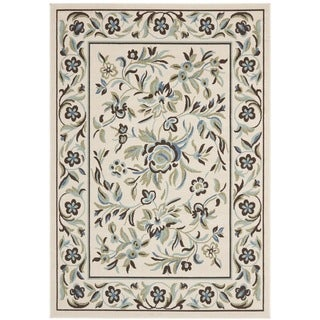 Safavieh Veranda Piled Indoor/ Outdoor Cream/ Green Rug (5'3 x 7'7)