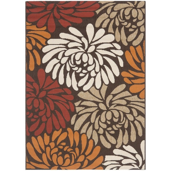 Safavieh Veranda Piled Indoor/ Outdoor Chocolate/ Terracotta Rug (6'7 x 9'6)
