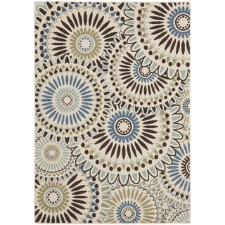 "Safavieh Veranda Piled Indoor/Outdoor Cream/Blue Geometric Rug (5'3"" x 7'7"")"