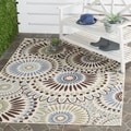Safavieh Veranda Piled Indoor/ Outdoor Cream/ Blue Rug (6'7 x 9'6)