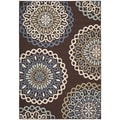 Safavieh Veranda Piled Indoor/ Outdoor Chocolate/ Blue Rug (5'3 x 7'7)