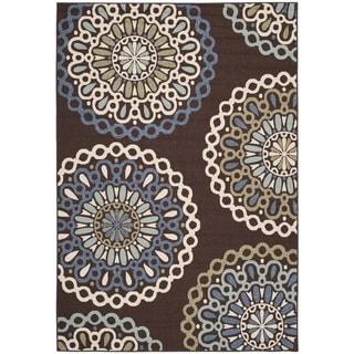 Safavieh Veranda Piled Indoor/ Outdoor Chocolate/ Blue Rug (6'7 x 9'6)
