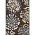 Safavieh Veranda Piled Indoor/ Outdoor Chocolate/ Blue Rug (6'7 x 9'6)