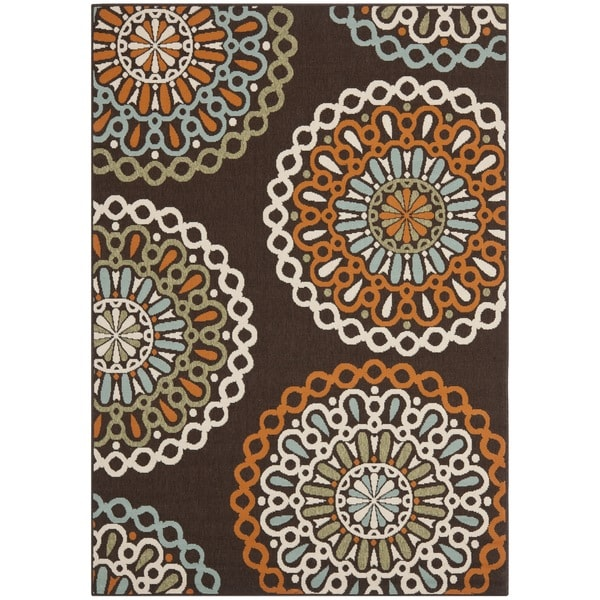 "Large Safavieh Veranda Piled Indoor/Outdoor Chocolate/Terracotta Rug (6'7"" x 9'6"")"