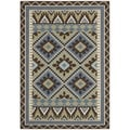 Safavieh Veranda Piled Indoor/ Outdoor Green/ Chocolate Rug (4' x 5'7)