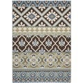 "Safavieh Veranda Piled Indoor/Outdoor Chocolate/Blue Striped Rug (6'7"" x 9'6"")"