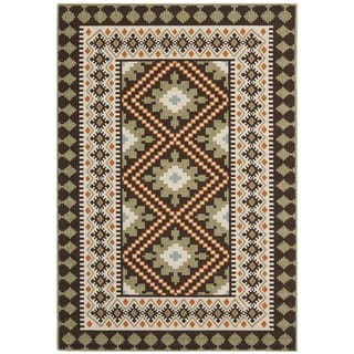 "Safavieh Veranda Piled Indoor/Outdoor Chocolate/Terracotta Rug with Border (5'3"" x 7'7"")"