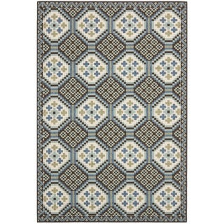 Safavieh Veranda Piled Indoor/ Outdoor Blue/ Chocolate Rug (5'3 x 7'7)