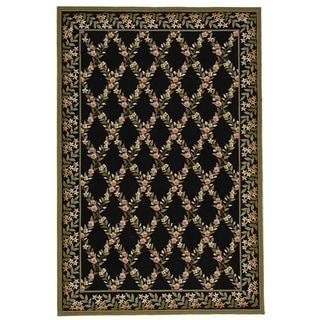 Safavieh Hand-hooked Wilton Black/ Green New Zealand Wool Rug (7'9 x 9'9)