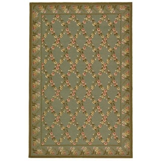 Safavieh Hand-hooked Wilton Teal/ Olive New Zealand Wool Rug (8'6 x 11'6)