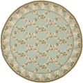 Safavieh Hand-hooked Wilton Teal/ Olive New Zealand Wool Rug (4' x 4' Round)