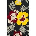 Safavieh Hand-hooked Wilton Black/ Multi New Zealand Wool Rug (5'6 x 8'6)