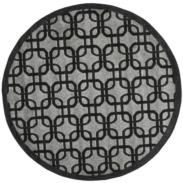 Safavieh York Grey/ Black Rug (6'7 x 6'7 Round)